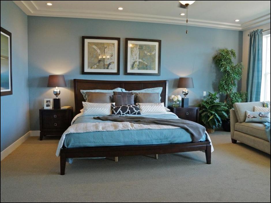 blue bedroom black furniture photo - 5
