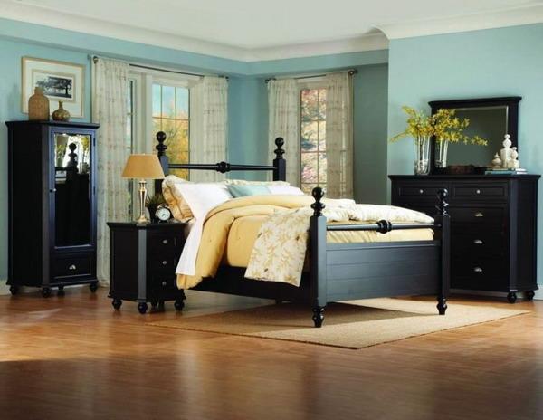 blue bedroom black furniture photo - 6