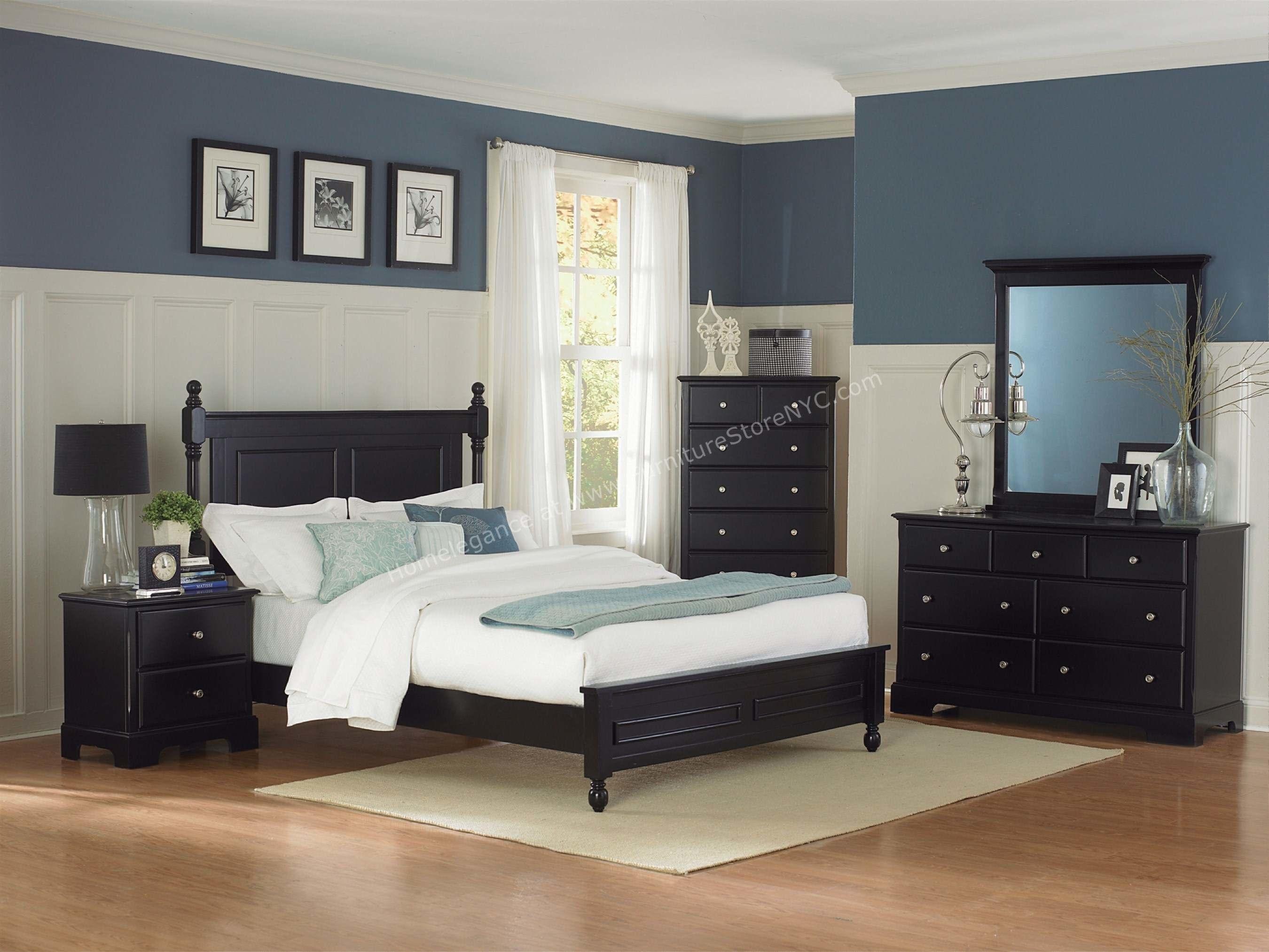 blue bedroom black furniture photo - 7