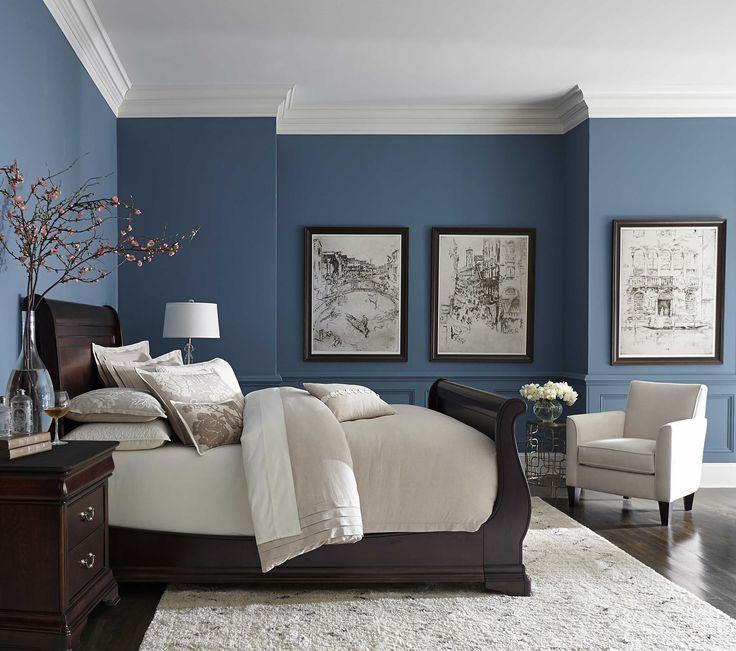 blue bedroom black furniture photo - 8