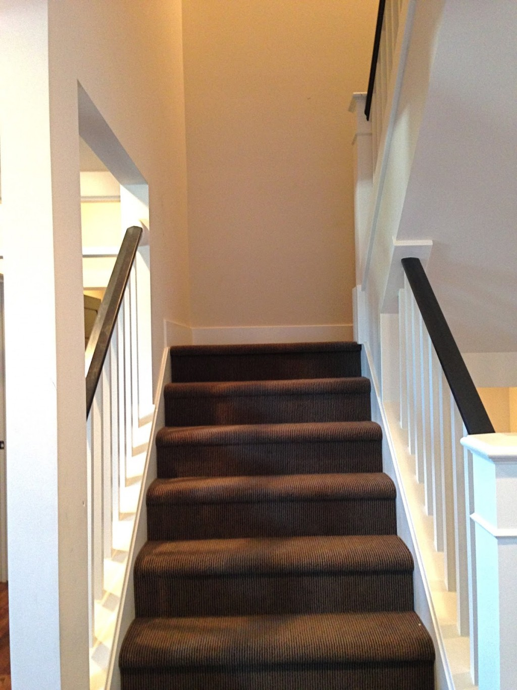 brown carpet runner for stairs photo - 2