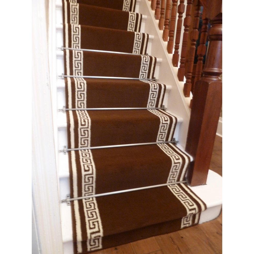 brown carpet runner for stairs photo - 4