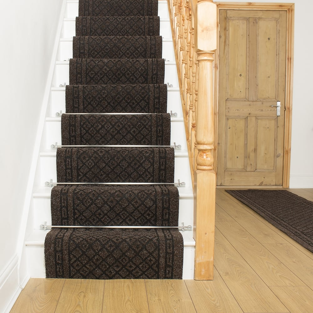 brown carpet runner for stairs photo - 5