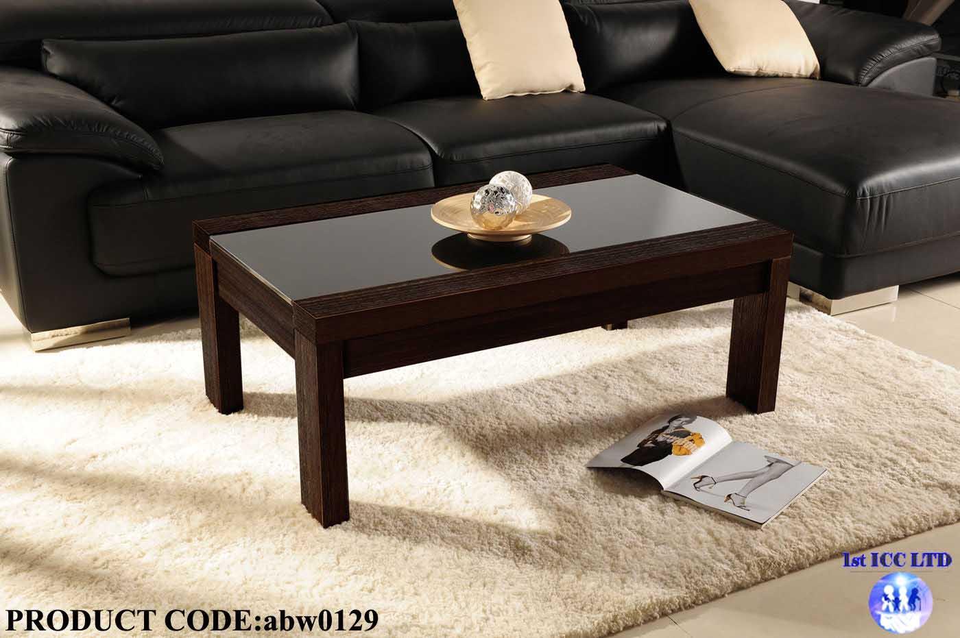 Brown Sofa Black Coffee Table Photo 8