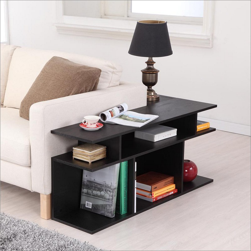 contemporary black sofa table photo - 4