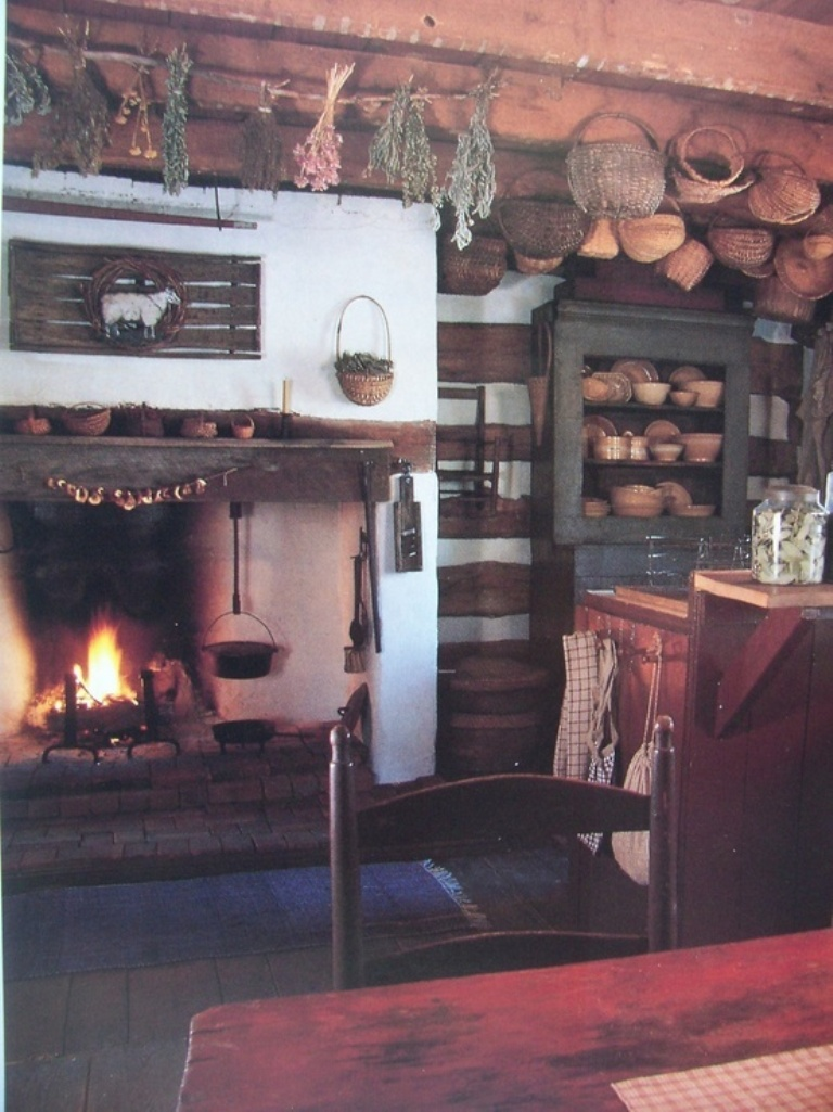 country kitchen fireplaces pictures photo - 6