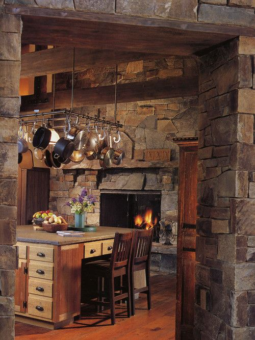 country kitchen fireplaces pictures photo - 8
