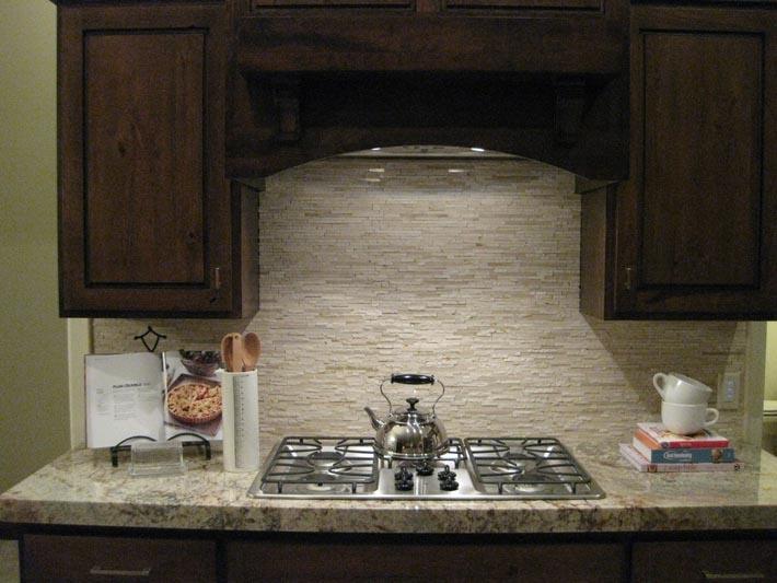 dark cabinets tile backsplash photo - 4