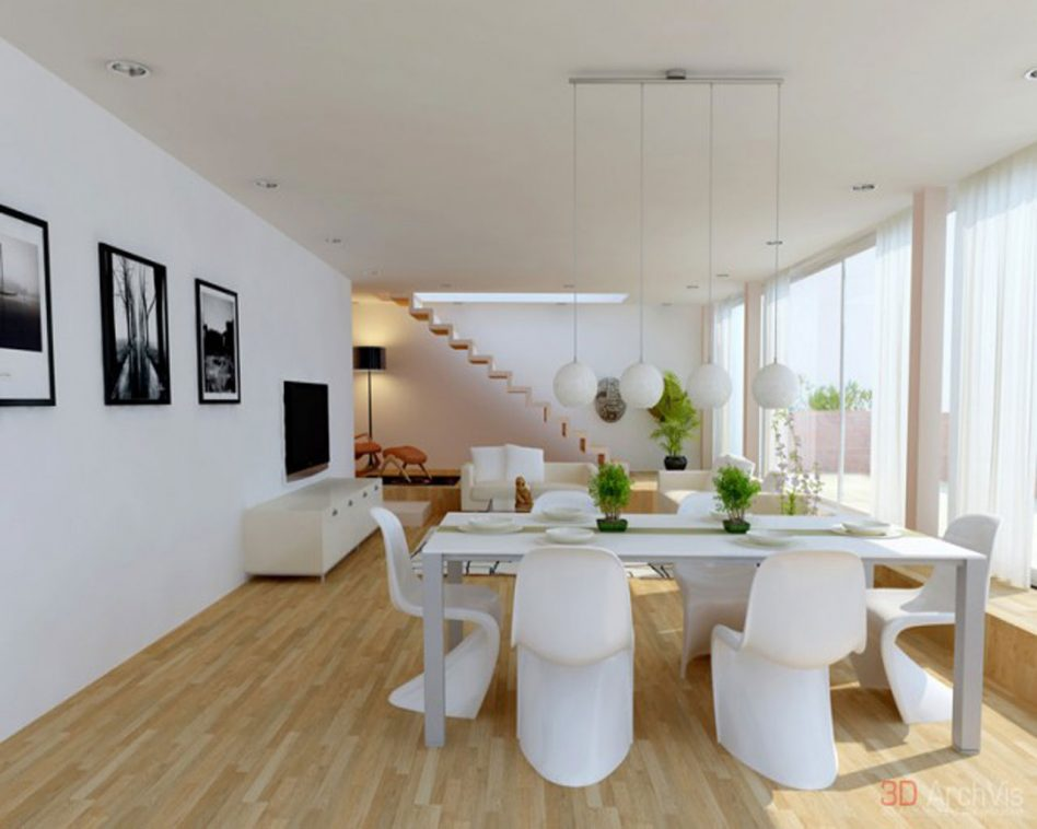 dining room with white furniture photo - 8