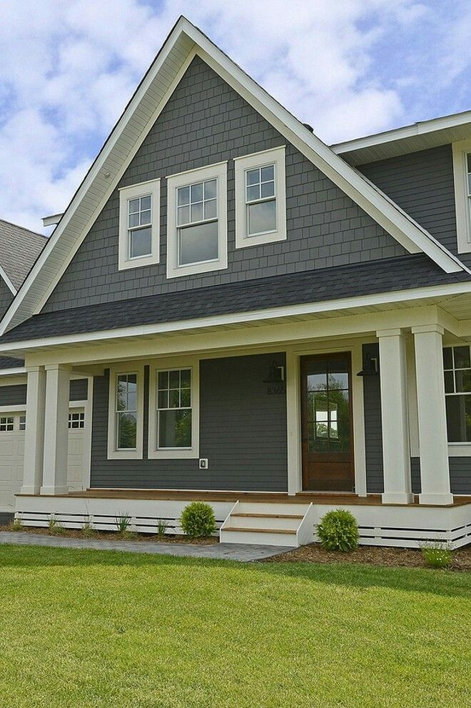 exterior paint colors with white trim photo - 2