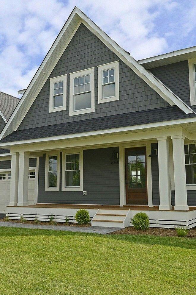 exterior paint colors with white trim photo - 2