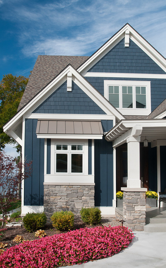 exterior paint colors with white trim photo - 9