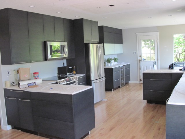 flat black kitchen cabinets photo - 1