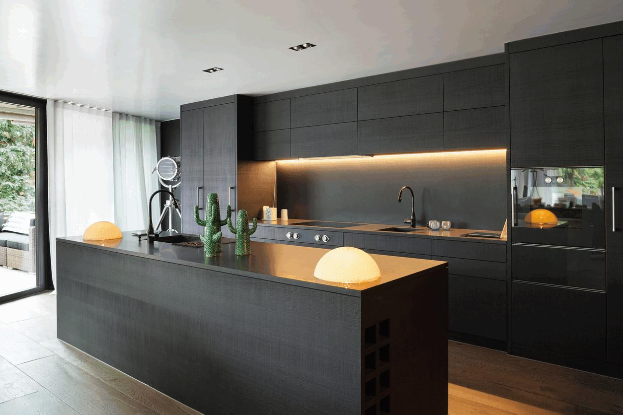 flat black kitchen cabinets photo - 2