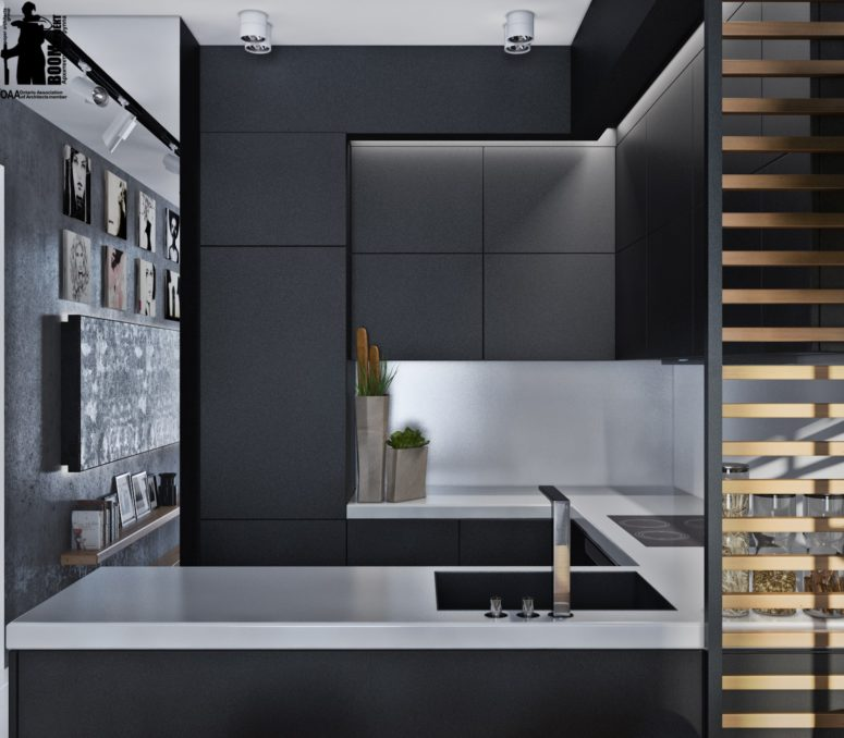 flat black kitchen cabinets photo - 3