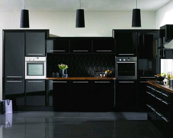 flat black kitchen cabinets photo - 5