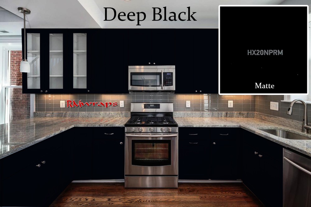 flat black kitchen cabinets photo - 6