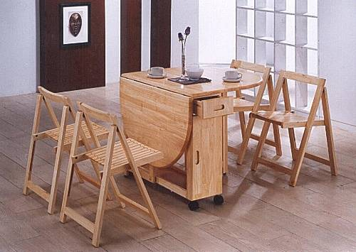 folding kitchen table and chairs set photo - 2