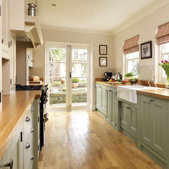 french country galley kitchen photo - 10