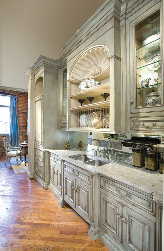 french country galley kitchen photo - 4