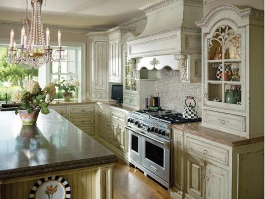 french country galley kitchen photo - 7