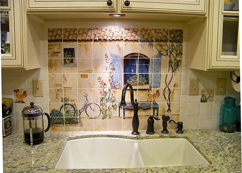 french country kitchen backsplash photo - 7