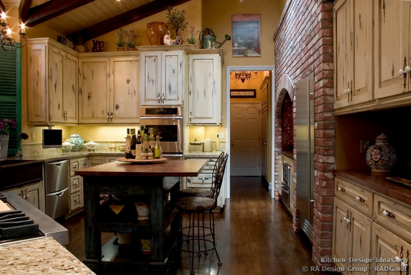 french country kitchen cabinets design photo - 2