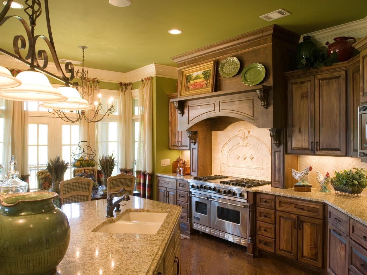 french country kitchen cabinets design photo - 3