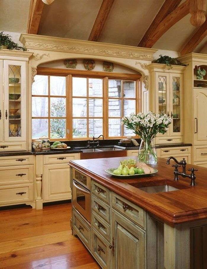 french country kitchen cabinets design photo - 4