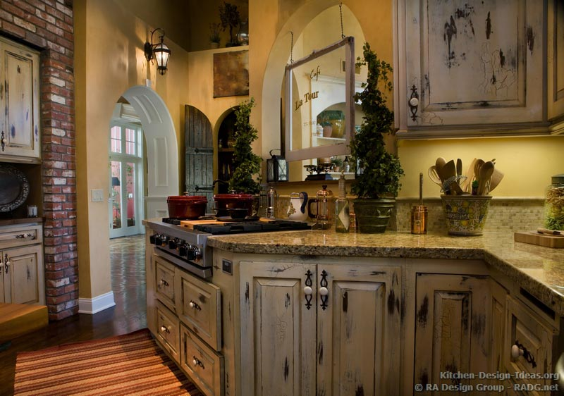 french country kitchen cabinets design photo - 5