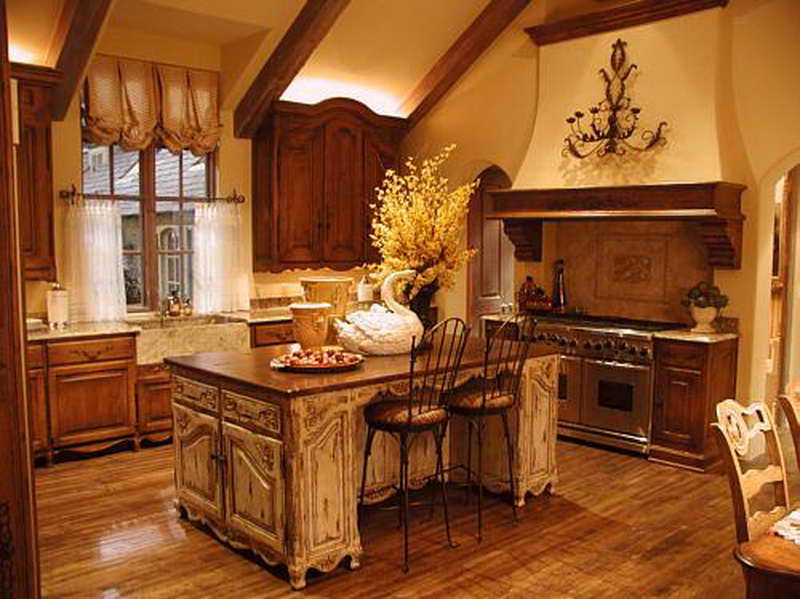 french country kitchen cabinets design photo - 8