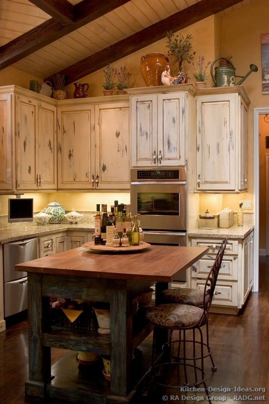 french country kitchen cabinets design photo - 9