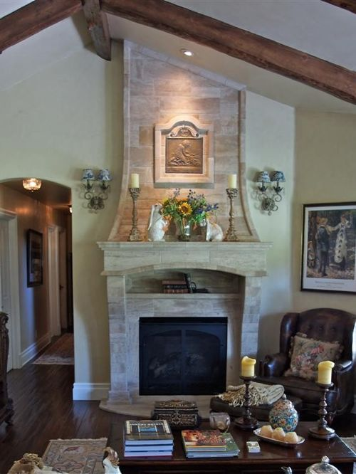 french country kitchen fireplace photo - 1