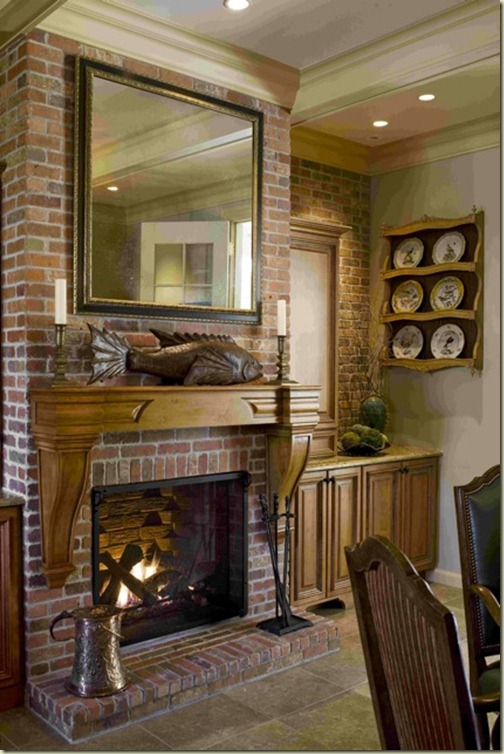 french country kitchen fireplace photo - 2