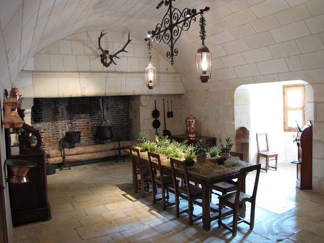 french country kitchen fireplace photo - 5