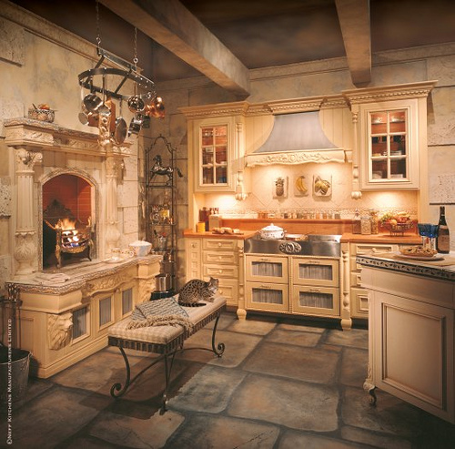french country kitchen fireplace photo - 6