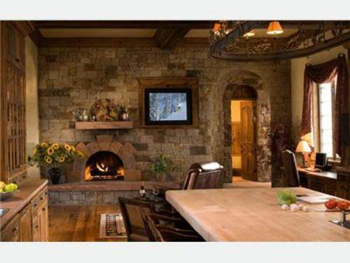 french country kitchen fireplace photo - 7
