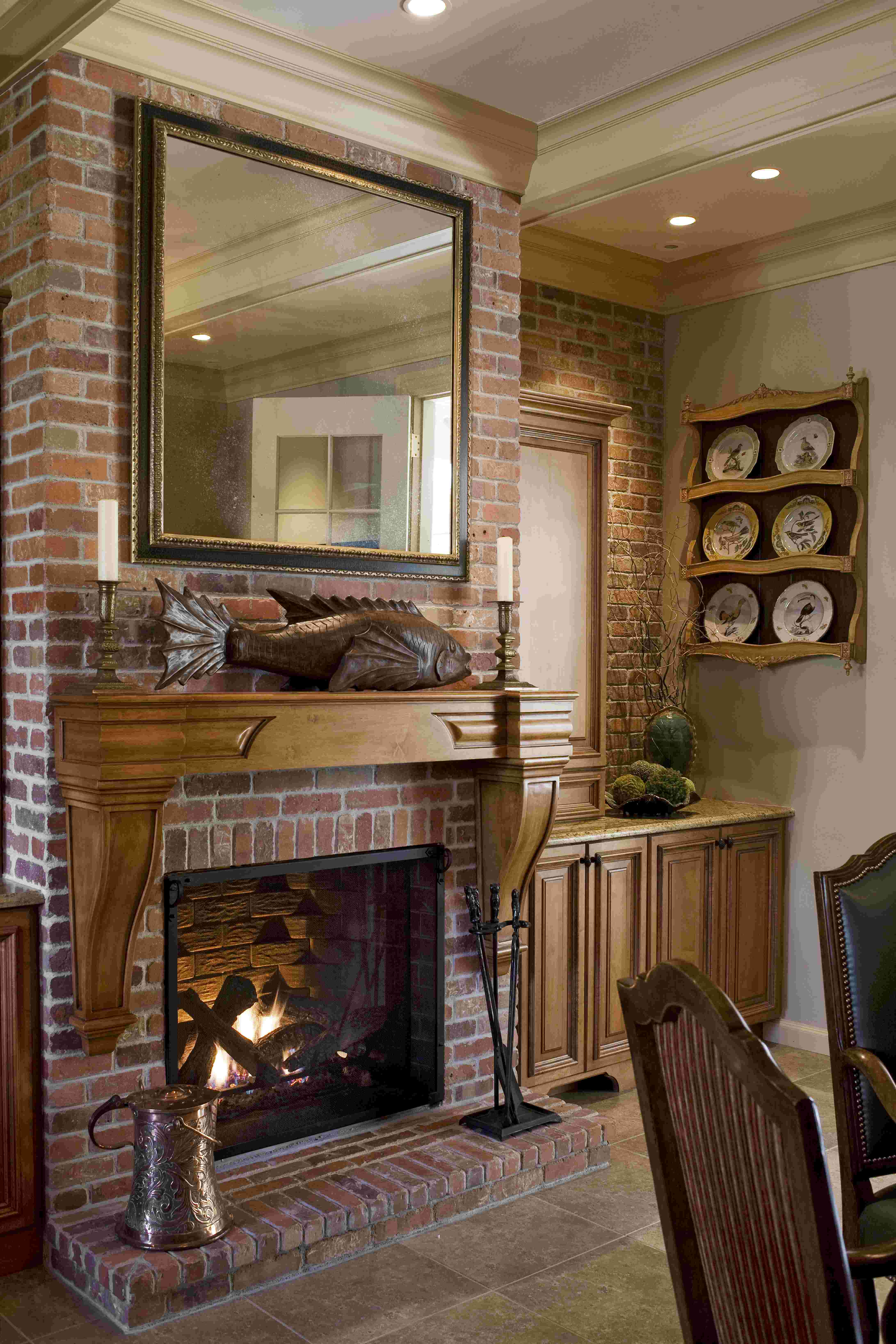french country kitchen fireplace photo - 8
