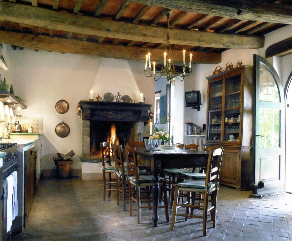 french country kitchen fireplace photo - 9