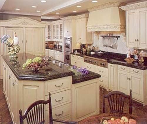 french country kitchen granite photo - 4