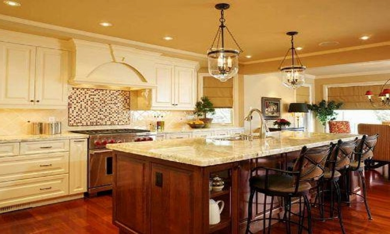 french country kitchen island lighting photo - 4