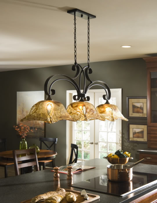 french country kitchen island lighting photo - 6