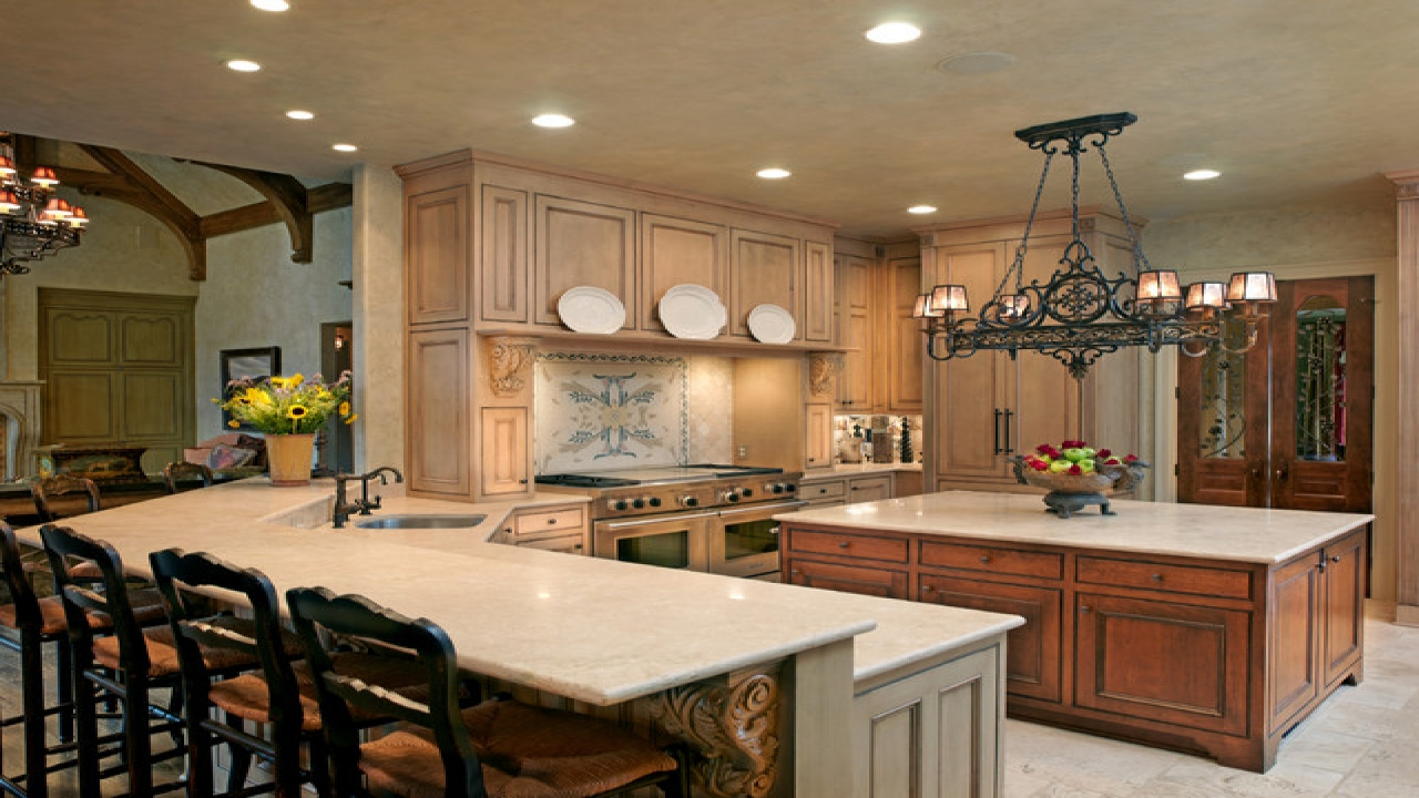 french country kitchen island lighting photo - 7
