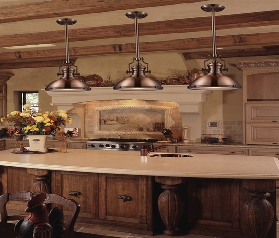 french country kitchen island lighting photo - 8