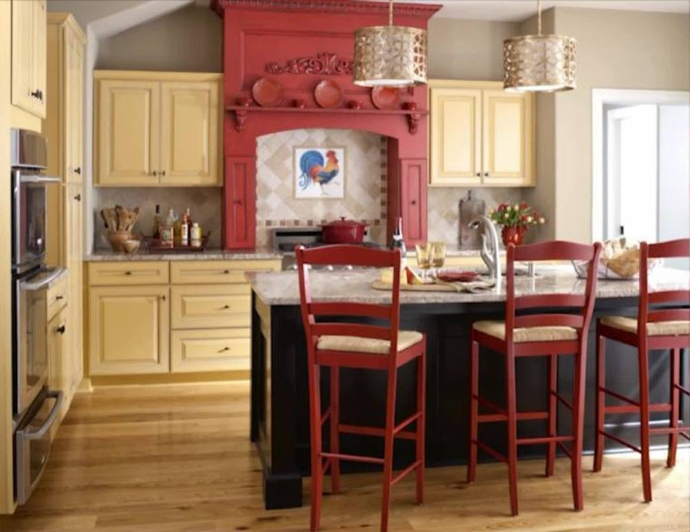 french country kitchen red photo - 4