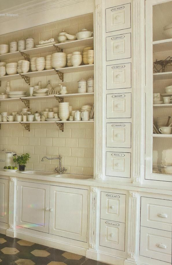 french country kitchen shelves photo - 10