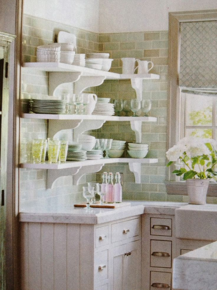 french country kitchen shelves photo - 9