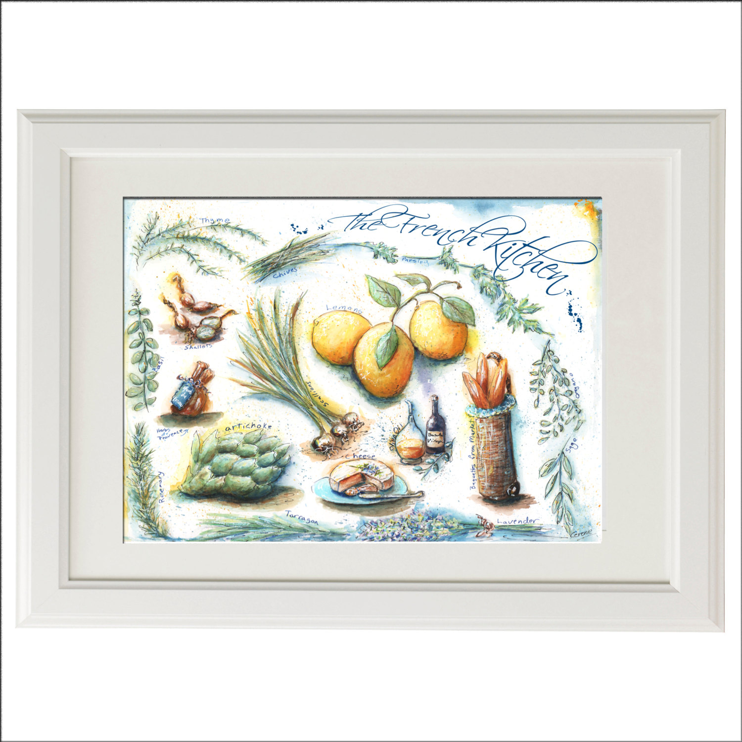 french country kitchen wall art photo - 3