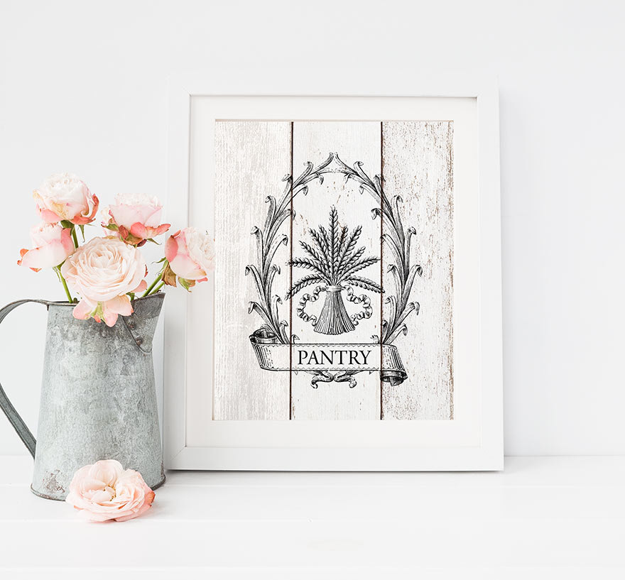 french country kitchen wall art photo - 5