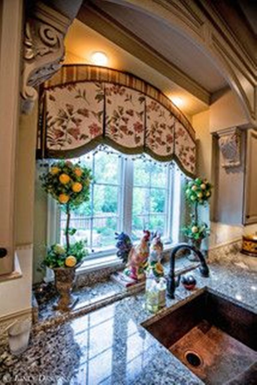 french country kitchen window treatments photo - 5